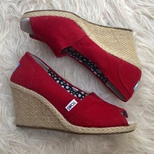 Toms Red Calypso Canvas Peep Toe Wedge Shoes